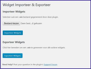 WordPress Widgets Exporteren