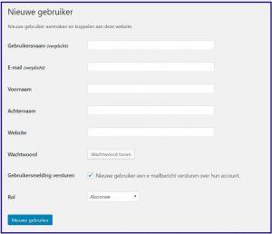 Wordpress Gebruiker toevoegen
