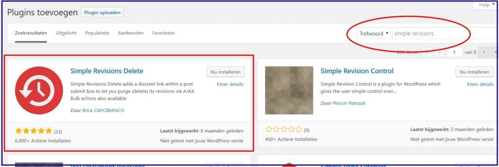 WordPress revisies verwijderen plugin.