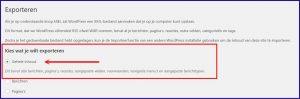WordPress export functie
