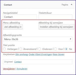 WordPress foto toevoegen aan menu