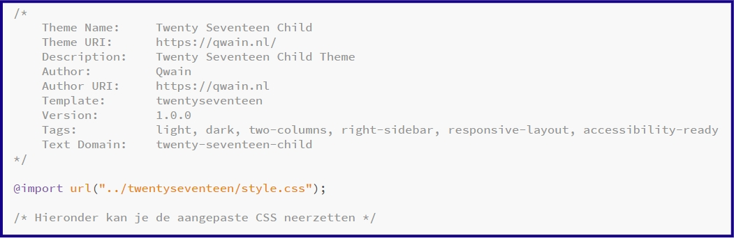 WordPress Child Theme CSS bestand