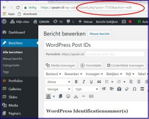 WordPress ID in browserbalk