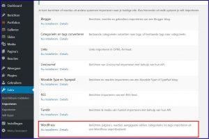 Wordpress importeer functie