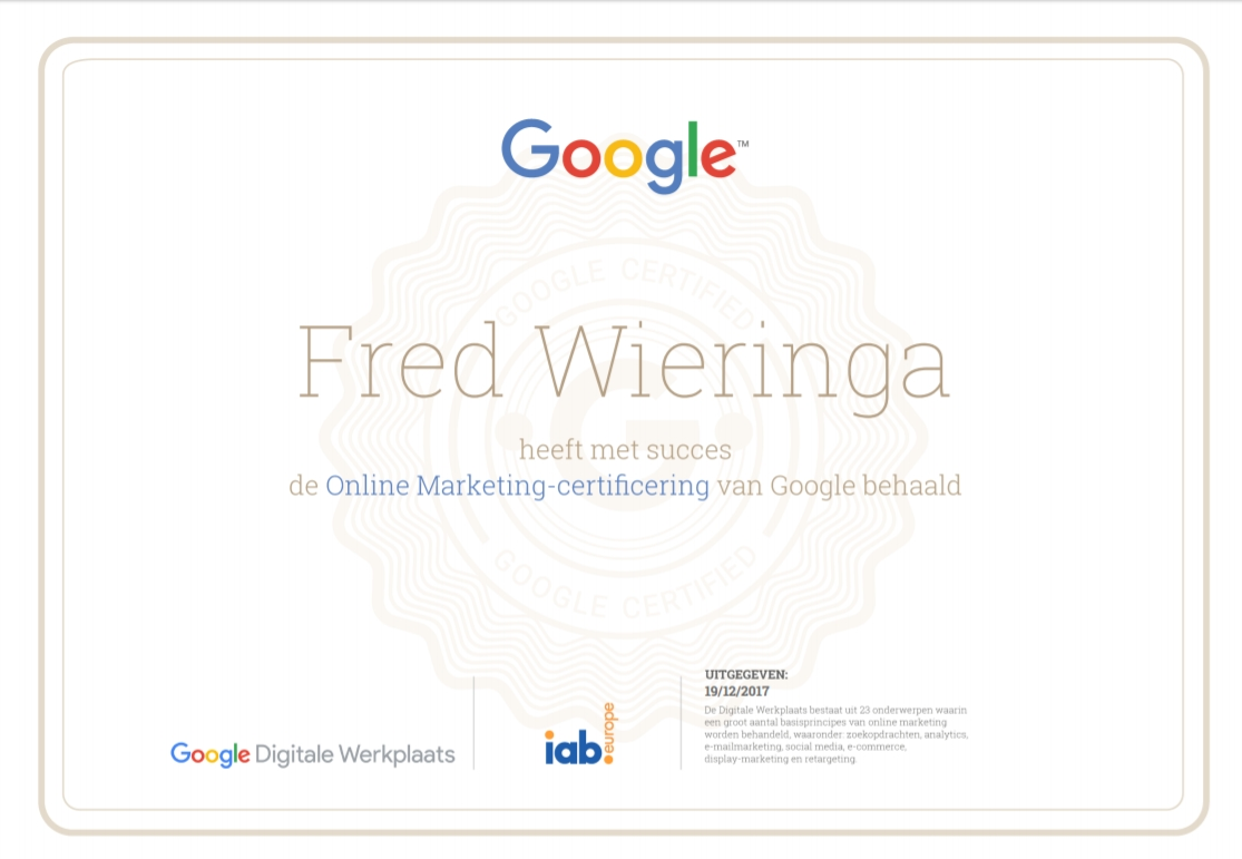 Google Online Marketing Certificaat