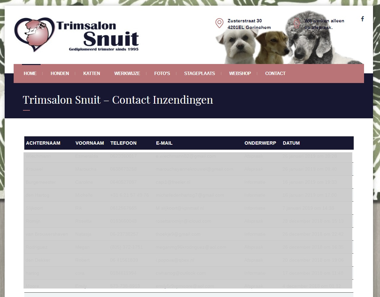 Trimsalon Contactformulier Inzendingen