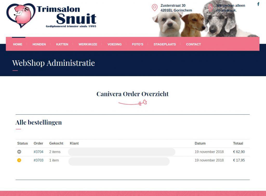 Trimsalon Webshop Order Overzicht
