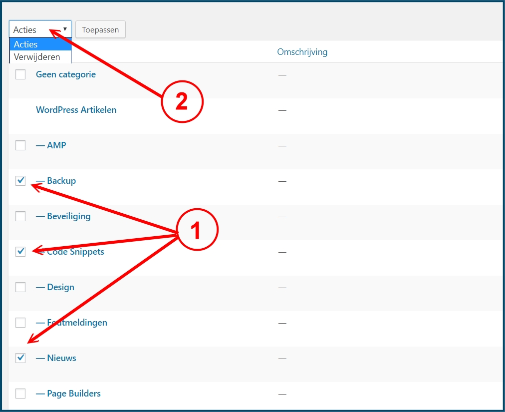 WordPress meerdere categorieën verwijderen