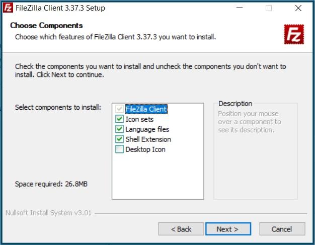 FileZilla Componenten Keuze