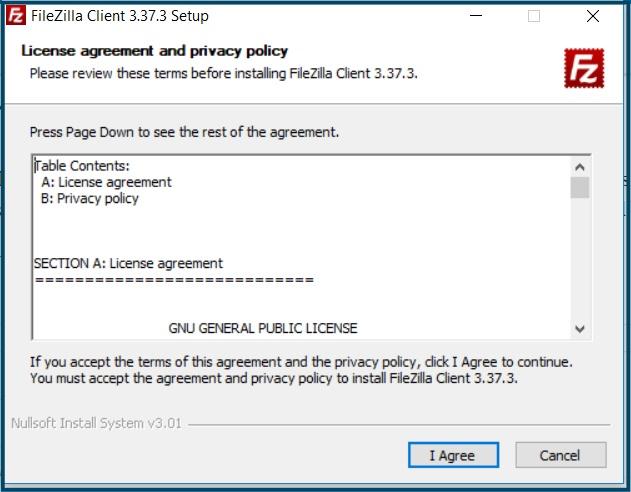 FileZilla Licentie overeenkomst