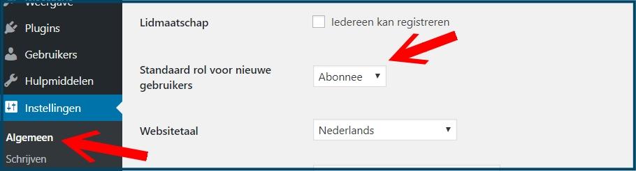 WordPress standaard gebruikersrol instellen