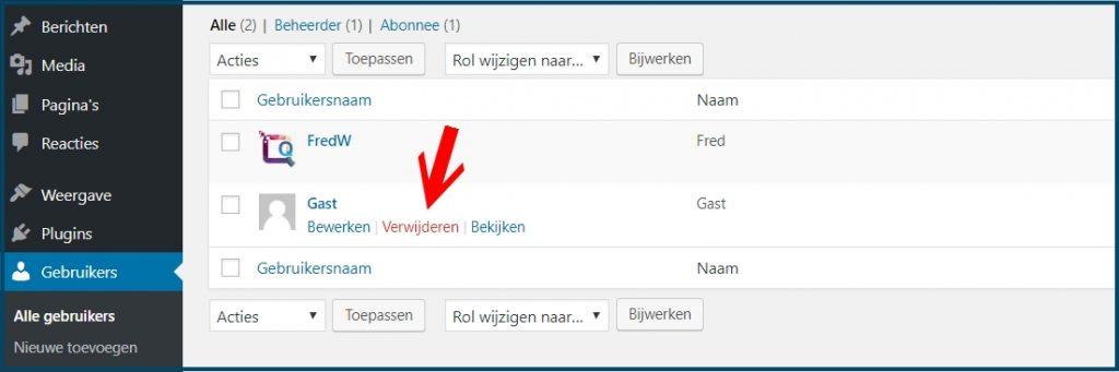 WordPress gebruiker verwijderne