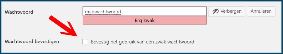 WordPress wachtwoord bevestigen