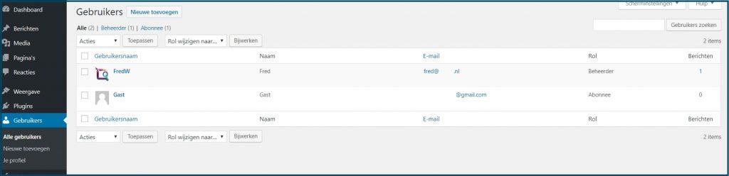 WordPress Gebruikers aanpassen