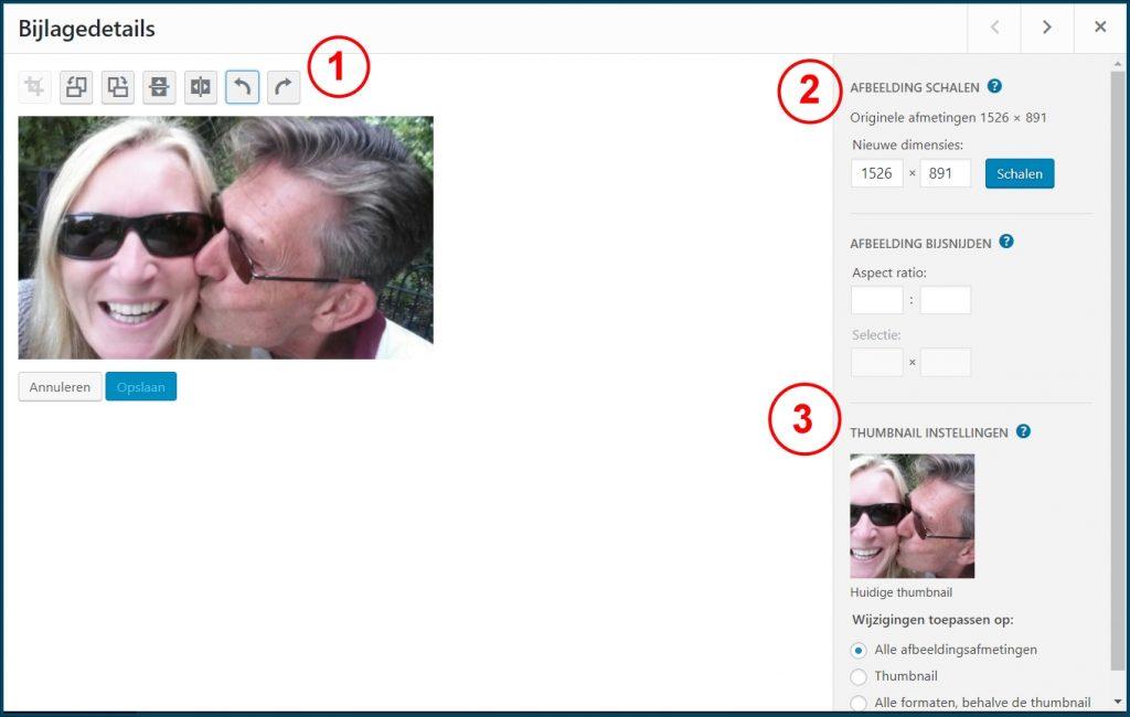 WordPress Afbeelding Bewerken Opties
