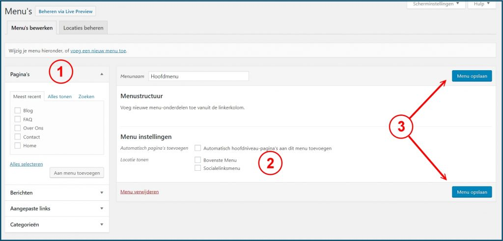 WordPress pagina's aan het menu toevoegen