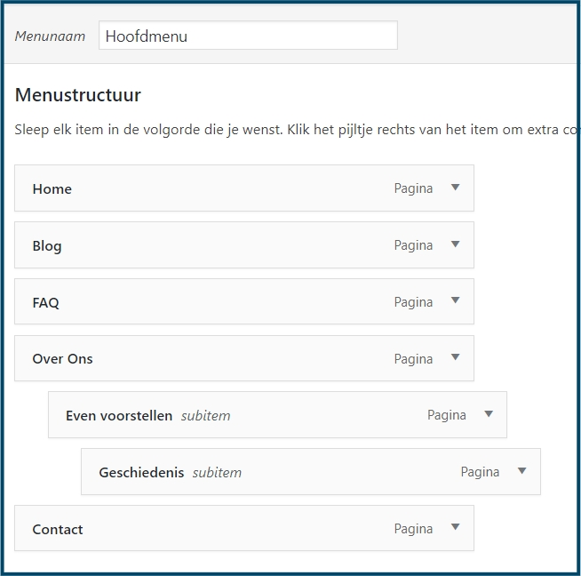 WordPress meerdere levels menu