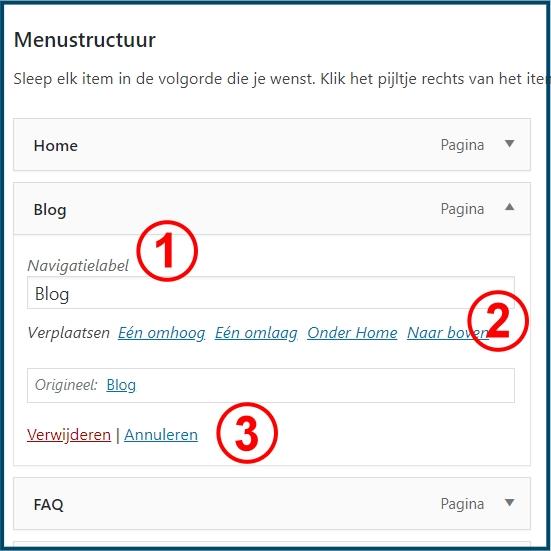 Wordpress menulabel verwijderen