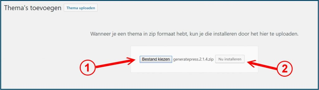WordPress Thema ZIP Bestand kiezen en installeren