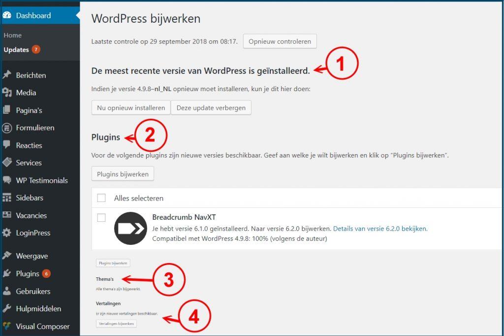 WordPress Updates Overzicht