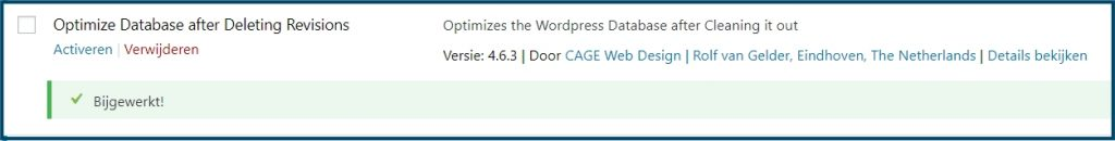 WordPress plugin update klaar