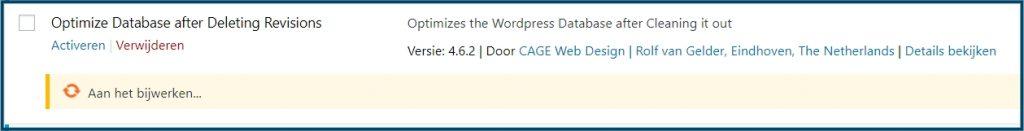 WordPress plugin wordt bijgewerkt