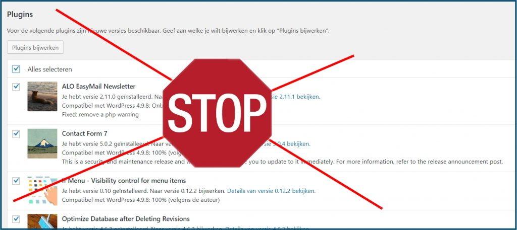 WordPress Plugins Update Fout