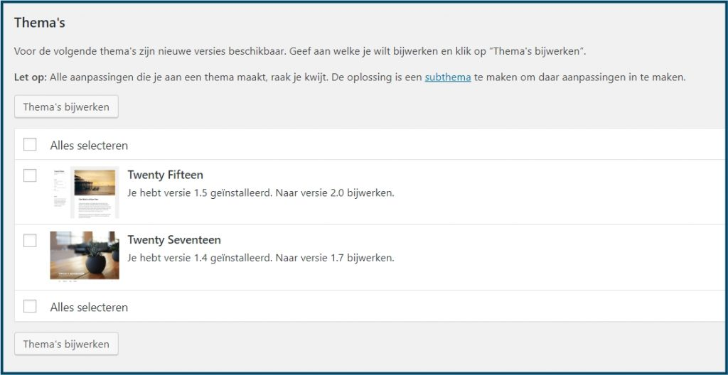 WordPress Thema Update
