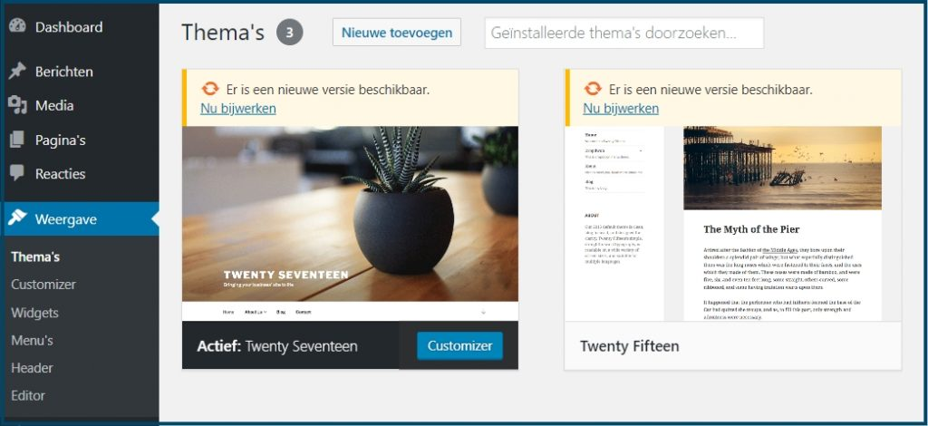WordPress Update Thema Overzicht