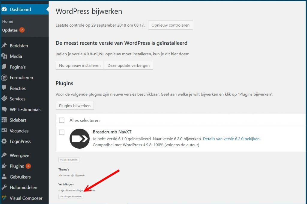 WordPress Vertalingen Bijwerken