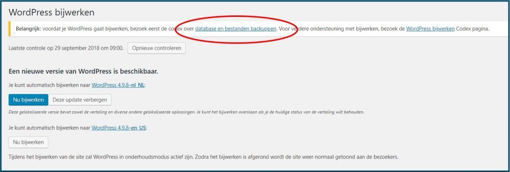 WordPress Update en Backup