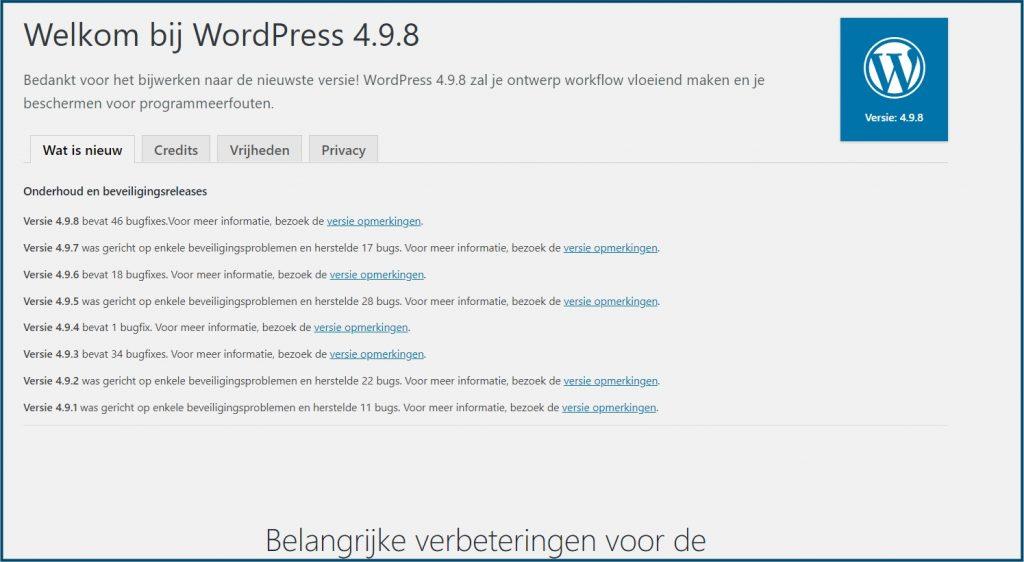 WordPress Updates Uitgevoerd