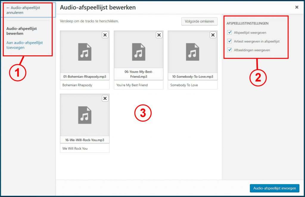 Audioafspeellijst bewerken