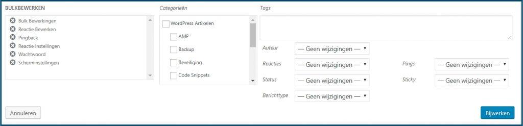 WordPress Bulkbewerkingen