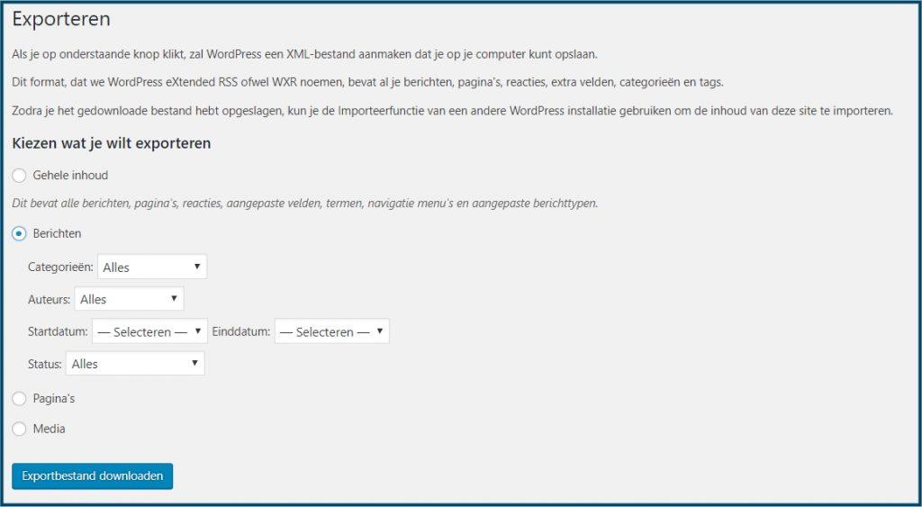 WordPress berichten exporteren