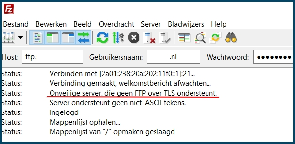 FTP Onveilige verbinding