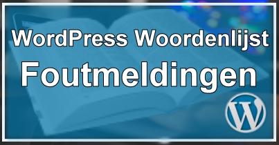 WordPress Foutmelding