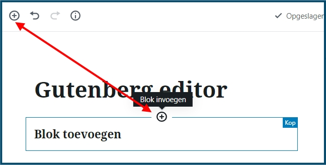 Gutenberg blok toevoegen