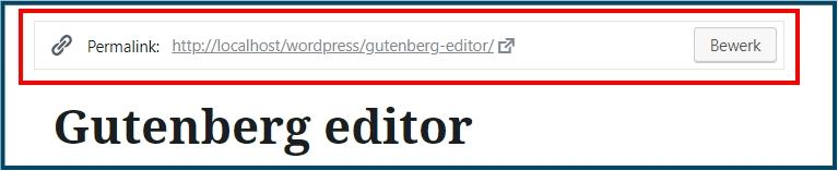 WordPress Gutenberg editor permalink aanpassen
