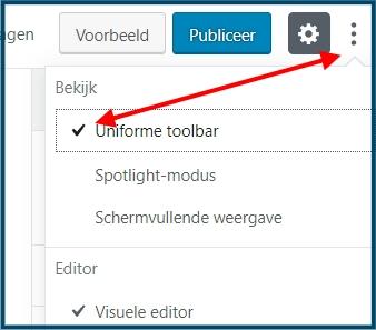 Gutenberg Uniforme Toolbar
