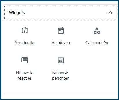Gutenberg widgets opnemen in pagina