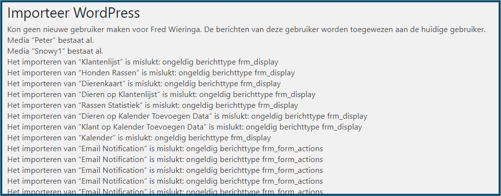WordPress Importeer Foutmeldingen