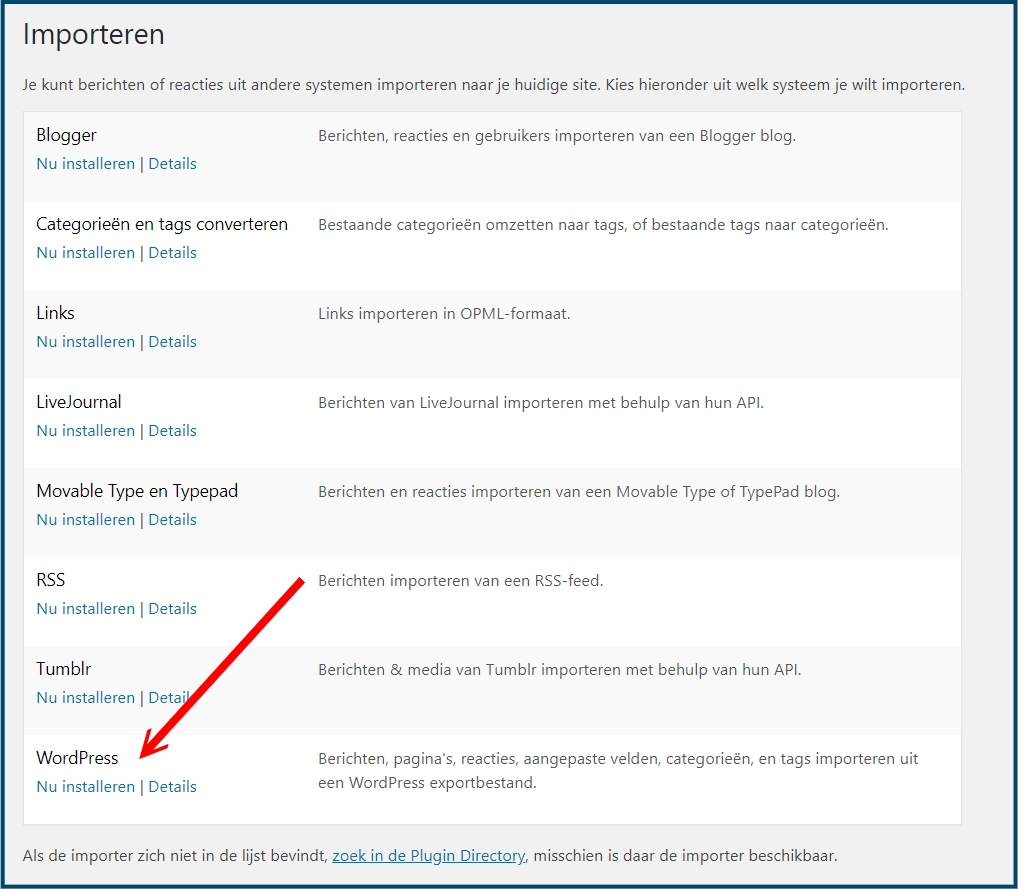 WordPress Importeren Installeren