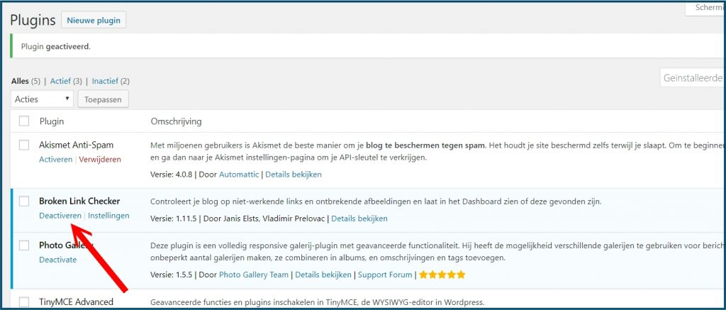 WordPress Plugin Deactiveren