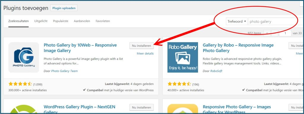 WordPress Plugin Zoeken en Installeren