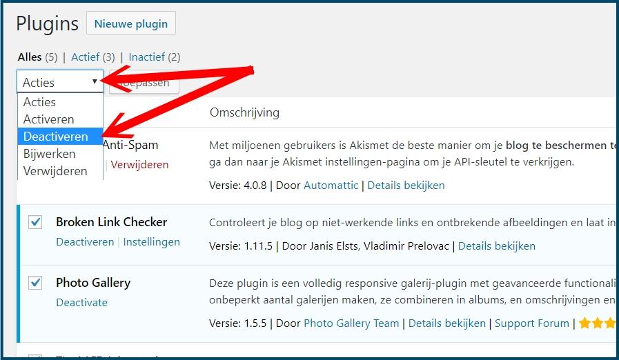 WordPress Plugins Alle Deactiveren