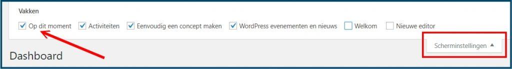 WordPress Dashboard Scherminstellingen