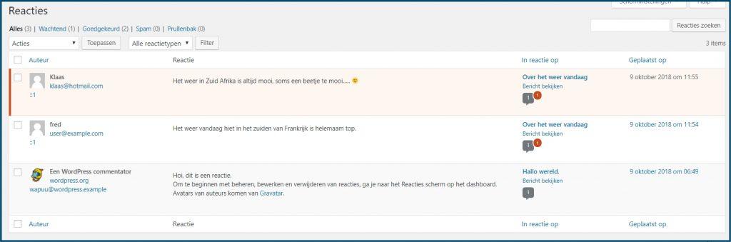 WordPress Alle Reacties bekijken
