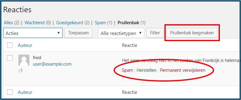 WordPress reacties in prullenbak