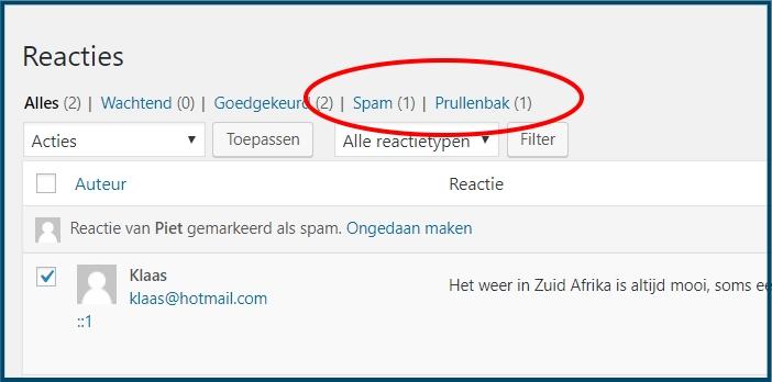 WordPress Reactie SPAM en Prullenbak